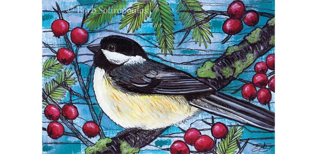 Yuletide Chickadee_Barb Sotiropoulos