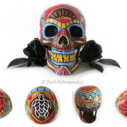 """""""Alberto-Alena""""aprx 5×8×6 in, Acrylic and Ink on Plastic Resin Skull 2015. Inspired by Hawaiian tiki masks& traditional sugar skulls. All images copyright Barb Sotiropoulos. All Rights Reserved. (Private Collection)"""