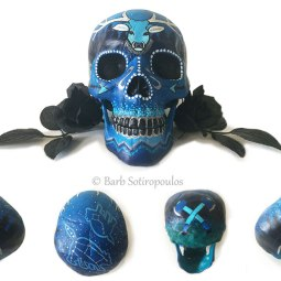 """""""Cortez""""aprx 5×8×6 in, Acrylic and Ink on Plastic Resin Skull 2016. Inspired by the wilderness, night sky& traditional sugar skulls. All images copyright Barb Sotiropoulos. All Rights Reserved. (Private Collection)"""