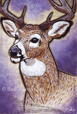 """Dear Oh Deer"" 4×6 in, Acrylic, ink and Mixed Media Paper 2014.  All images copyright Barb Sotiropoulos. All Rights Reserved.(Prints Available)"