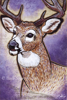 """""""Dear Oh Deer""""4×6 in, Acrylic, ink and Mixed Media Paper 2014. All images copyright Barb Sotiropoulos. All Rights Reserved.(Prints Available)"""