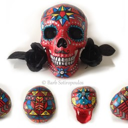 """""""Emanuel""""aprx 5×8×6 in, Acrylic and Ink on Plastic Resin Skull2014. Inspired by geometric shapes & traditional sugar skulls. All images copyright Barb Sotiropoulos. All Rights Reserved. (Private Collection)"""