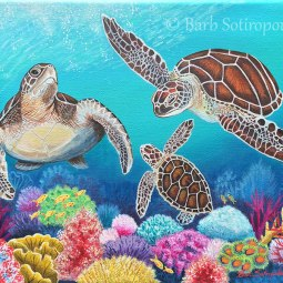 """Honu Ohana"" 14 x 11 in, Acrylic on Canvas 2016. Partial photo reference credit to Clayton Plum. Used with permission.