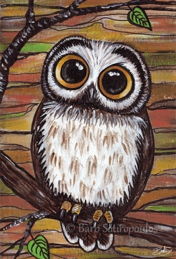 """Hoo Me?"" 4×6 in, Acrylic and ink on Strathmore Mixed Media Paper 2014.  All images copyright Barb Sotiropoulos. All Rights Reserved."