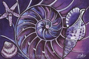 """Inside the Nautilus"" 6×4 in, Acrylic and ink on Strathmore Mixed Media Paper 2014. All images copyright Barb Sotiropoulos. All Rights Reserved. (Prints Available)"