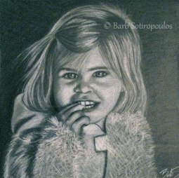 """Jayden"" 12×12 in Charcoal on Mi-Teintes 2010.  All images copyright Barb Sotiropoulos. All Rights Reserved. (Private Collection)"