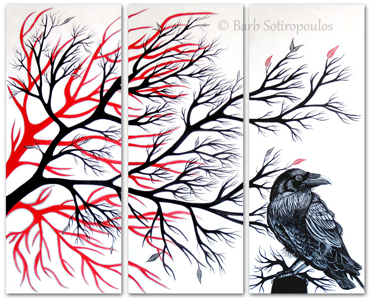 """Nevermore"" 16×40 in Panels, Acrylic on Canvas 2013. All images copyright Barb Sotiropoulos. All Rights Reserved. (Available for Purchase)"