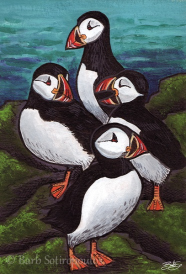 """""""Pack of Puffins""""4×6 in, Acrylic and ink on Strathmore Mixed Media Paper 2014. All images copyright Barb Sotiropoulos. All Rights Reserved. (Prints Available)"""
