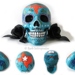 """""""Pedro""""aprx 5×8×6 in, Acrylic and Ink on Plastic Resin Skull 2015. Inspired by Texas State & traditional sugar skulls. All images copyright Barb Sotiropoulos. All Rights Reserved. (Private Collection)"""