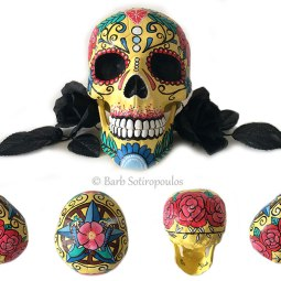"""""""Rosa""""aprx 5×8×6 in, Acrylic and Ink on Plastic Resin Skull 2016. Inspired by western country imagery & traditional sugar skulls. All images copyright Barb Sotiropoulos. All Rights Reserved.(Private Collection)"""
