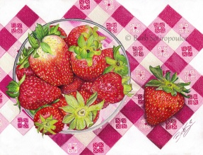 """""""Summer Strawberries"""" 11 x 8.5in, Colored Pencil on Stonehenge Paper 2015. Original photo reference Sally Robertson. Copyright released. All images copyright Barb Sotiropoulos. All Rights Reserved. (Prints Available)"""