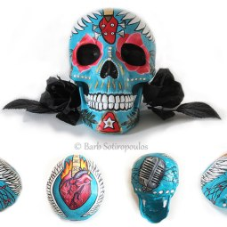 """""""Valentina""""aprx 5×8×6 in, Acrylic and Ink on Plastic Resin Skull 2015. Inspired by passion for music & traditional sugar skulls. All images copyright Barb Sotiropoulos. All Rights Reserved. (Private Collection)"""