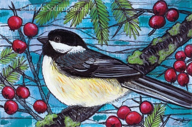 """""""Yuletide Chickadee""""6×4 in, Acrylic and ink on Strathmore Mixed Media Paper 2014. All images copyright Barb Sotiropoulos. All Rights Reserved. (Prints Available)"""