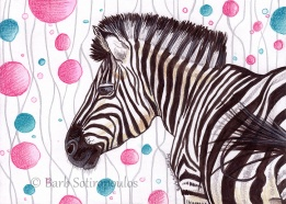 """Zebra Party"" 6.25 ×4.5 in, Colored Pencil, Watercolur and Ink on Strathmore Mixed Media Paper 2015. All images copyright Barb Sotiropoulos. All Rights Reserved. (Prints Available)"