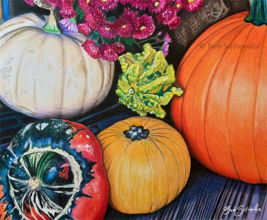 """""""Autumn's Harvest"""" 10x8 in Prismacolor Premier and white acrylic paint on Strathmore Bristol Smooth paper 2015. Original photo reference Sally Robertson. Copyright released. All images copyright Barb Sotiropoulos. All Rights Reserved."""