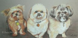 """""""Dog Trio"""" 10×20 in Charcoal and Pastel on Mi-Teintes 2010. All images copyright Barb Sotiropoulos. All Rights Reserved. (Private Collection)"""