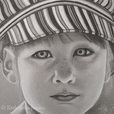"""Falynn"" 12×12 in Charcoal on Mi-Teintes 2010.  All images copyright Barb Sotiropoulos. All Rights Reserved. (Private Collection)"