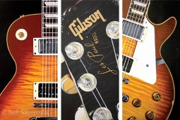 """""""Gibson Les Paul Triptych"""" 12×24 in Panels Acrylic on Canvas 2009. All images copyright Barb Sotiropoulos. All Rights Reserved. (Private Collection)"""