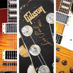 """Gibson Les Paul Triptych"" 12×24 in Panels Acrylic on Canvas 2009. All images copyright Barb Sotiropoulos. All Rights Reserved. (Private Collection)"