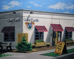 """Good Earth Cafe (20th Anniversary)"" 20×16 in, Acrylic on Canvas 2011. All images copyright Barb Sotiropoulos. All Rights Reserved. (Private Collection)"