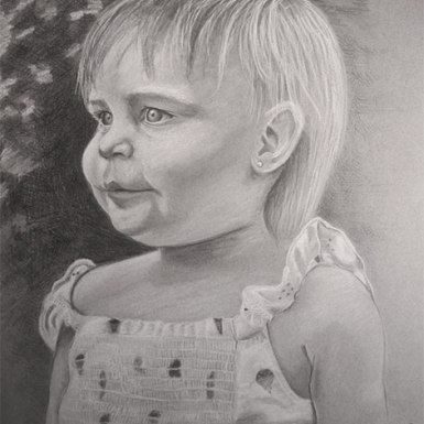 """Riley"" 11×14 in Charcoal on Mi-Teintes 2010.  All images copyright Barb Sotiropoulos. All Rights Reserved. (Private Collection)"