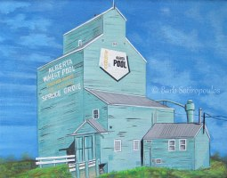 """The Spruce Grove Grain Elevator"" 20×16 in Acrylic on Canvas 2013. All images copyright Barb Sotiropoulos. All Rights Reserved. (Private Collection)"