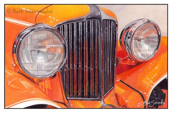 """Taliesin Orange"" 9.75x6.5 in Prismacolor Premier and white gel pen on Strathmore Bristol Smooth paper 2016. Original photo reference Sally Robertson. Copyright released.  All images copyright Barb Sotiropoulos. All Rights Reserved."