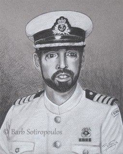 """""""The Captain"""" 8×10 in Charcoal on Mi-Teintes 2012. All images copyright Barb Sotiropoulos. All Rights Reserved. (Private Collection)"""