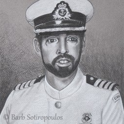 """The Captain"" 8×10 in Charcoal on Mi-Teintes 2012. All images copyright Barb Sotiropoulos. All Rights Reserved. (Private Collection)"