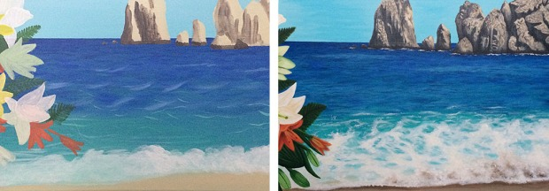 In the past, the above left photo is where I would have stopped on the waves and water. The right photo is where I'm at now. This particular project also required me to learn how to paint waves and water which made the painting infinitely better in the end.