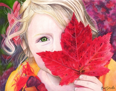 """""""Maple Leaf Girl"""" 10x8 in Faber-Castell Polychromos and Prismacolor Premier Colored Pencil on Fabriano Artistico Hot Press Watercolor Paper 2017. All images copyright Barb Sotiropoulos. All Rights Reserved. (Available for Purchase)"""