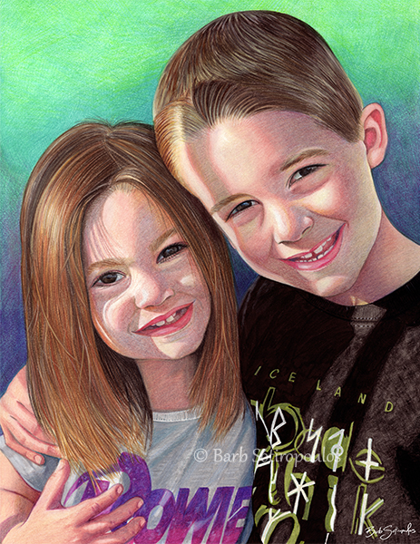 """""""Jax & Fallon"""" 11x14 in Faber-Castell Polychromos and Prismacolor Premier Colored Pencil on Fabriano Artistico Hot Press Watercolor Paper 2017. All images copyright Barb Sotiropoulos. All Rights Reserved."""