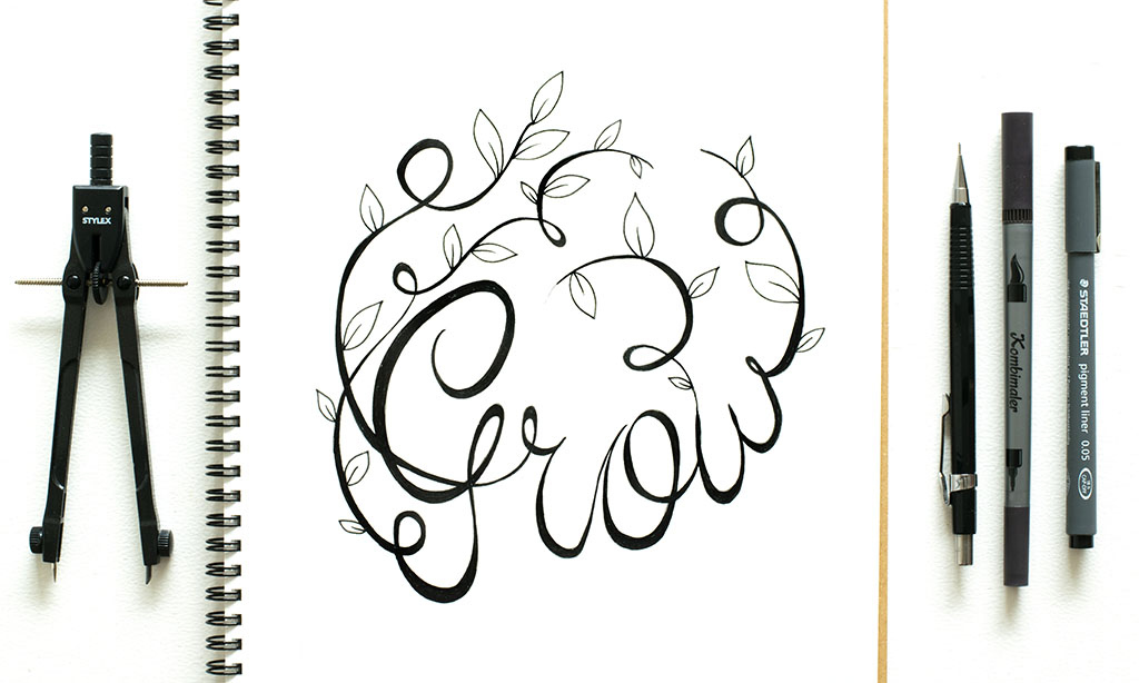 illustration of the word grow