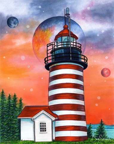 """Cosmic Lighthouse"" 8x10 in Faber-Castell Polychromos, Faber-Castell PITT Artist pens, Copic Markers and Pan Pastel on Fabriano Artistico Hot Press Watercolor paper 2020.  All images copyright Barb Sotiropoulos. All Rights Reserved."